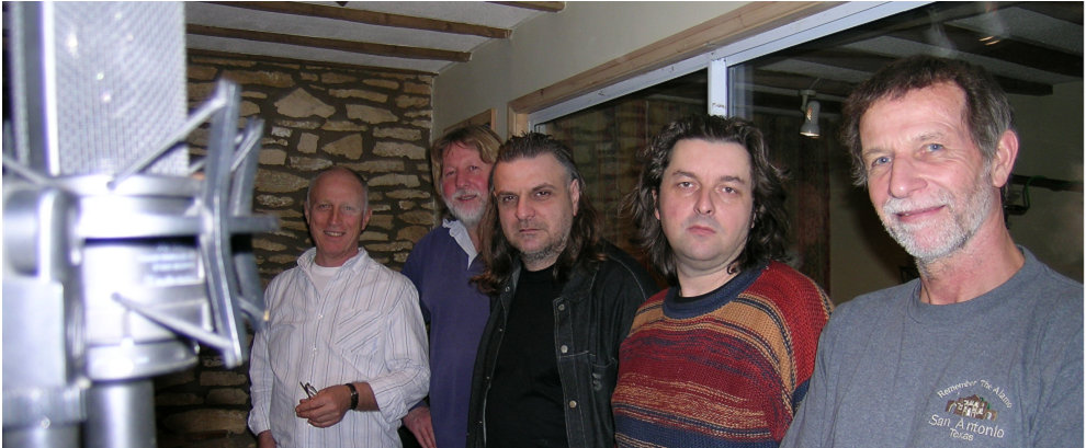 The band in 2008 at the FFG Media Studios during one of the re-union sessions.